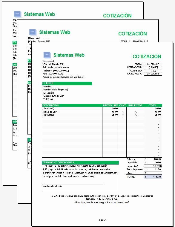 Formatos De Cotizaciones Para Llenar New Plantilla De Cotización Excel – Plantillas Gratis