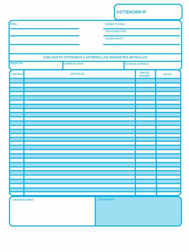 Formatos De Cotizaciones Para Llenar Unique Ejemplo De Cotización O Presupuesto Plantilla Opcionis