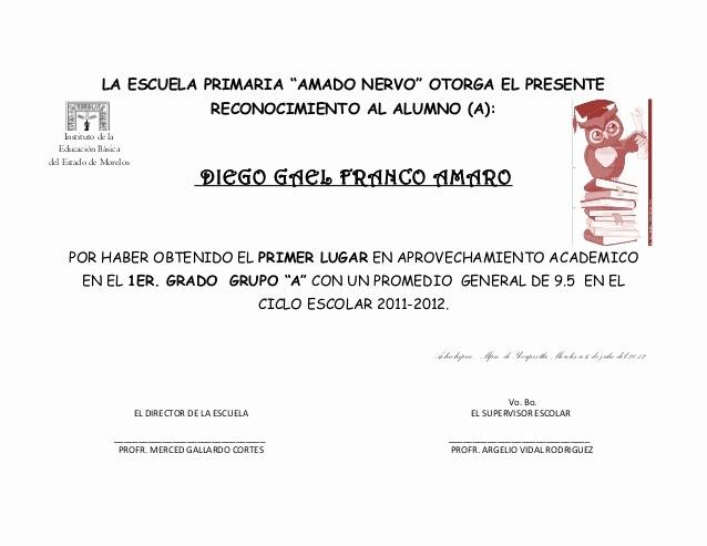 Formatos De Diplomas Por Aprovechamiento Elegant Reconocimientos 2011 2012