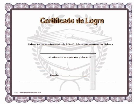Formatos De Diplomas Por Aprovechamiento Lovely Certificado De Logro Para Imprimir Los Certificados
