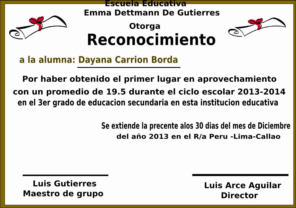 Formatos De Diplomas Por Aprovechamiento Lovely Dayana Daniela Carrion