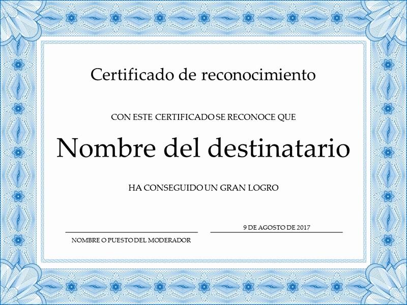 Formatos De Diplomas Por Aprovechamiento Unique Certificado De Reconocimiento Azul