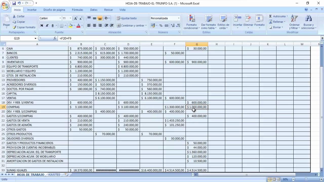 Formatos De Excel Para Contabilidad Beautiful Hoja De Trabajo Practica En Excel