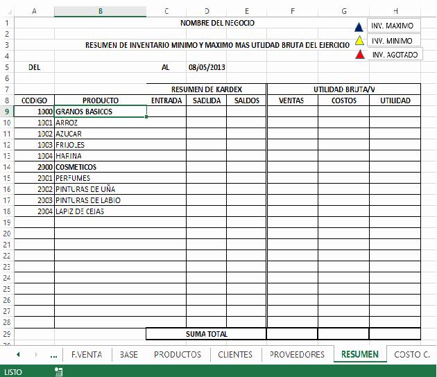 Formatos De Excel Para Contabilidad Luxury Sistema De Gestion – Facturacion E Inventario En Excel 11
