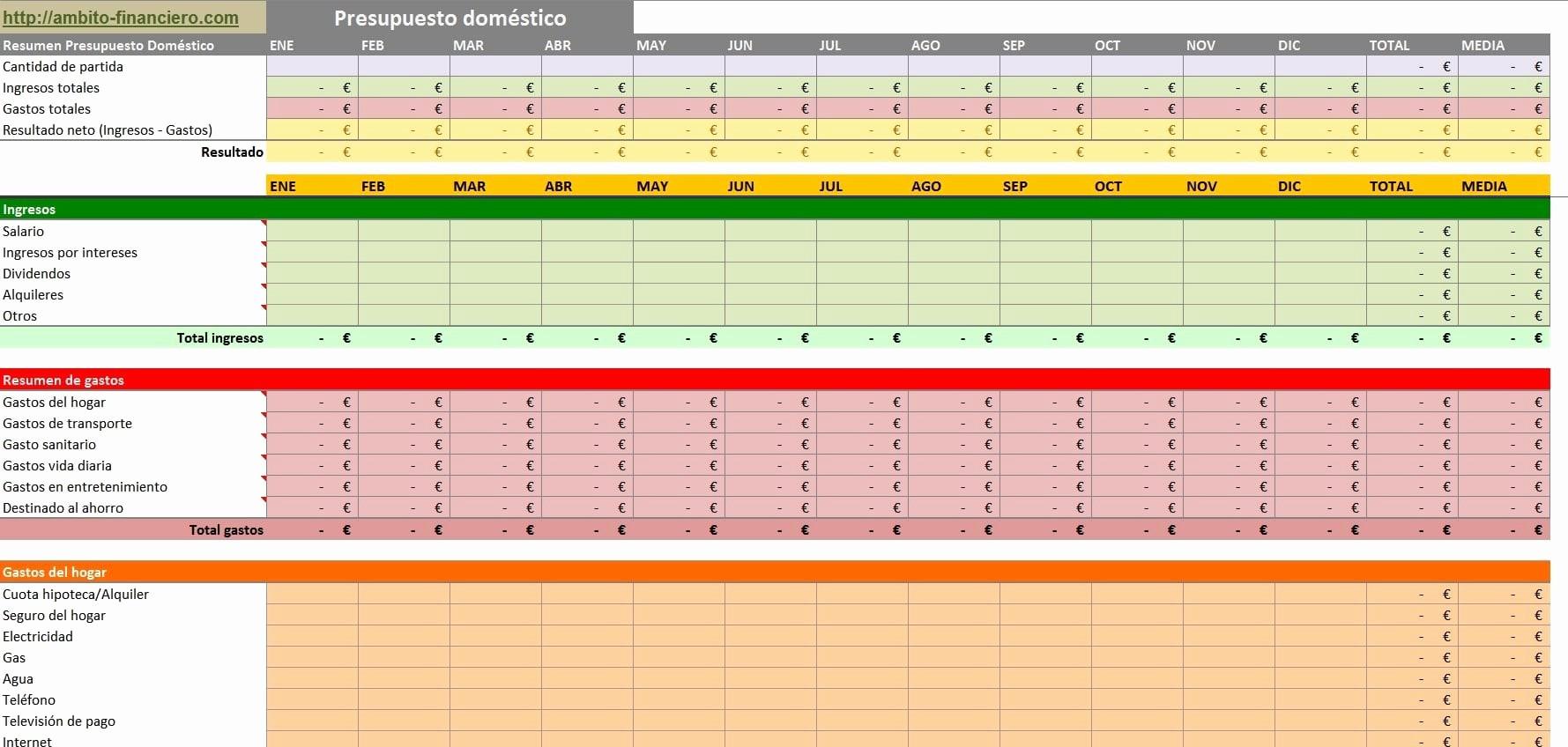 Formatos De Excel Para Contabilidad New Cómo Llevar La Contabilidad Doméstica En Excel