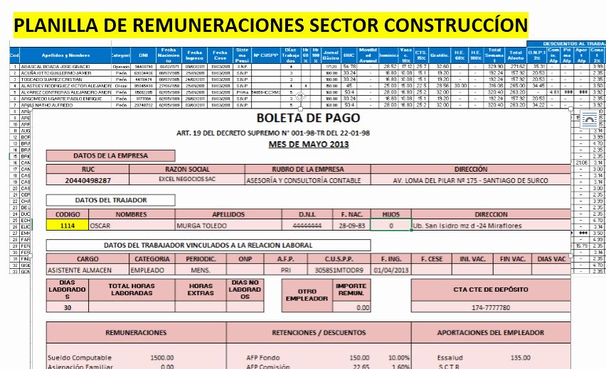 Formatos De Excel Para Contabilidad New Descarga Planilla De Remuneraciones Y Boletas De Pago