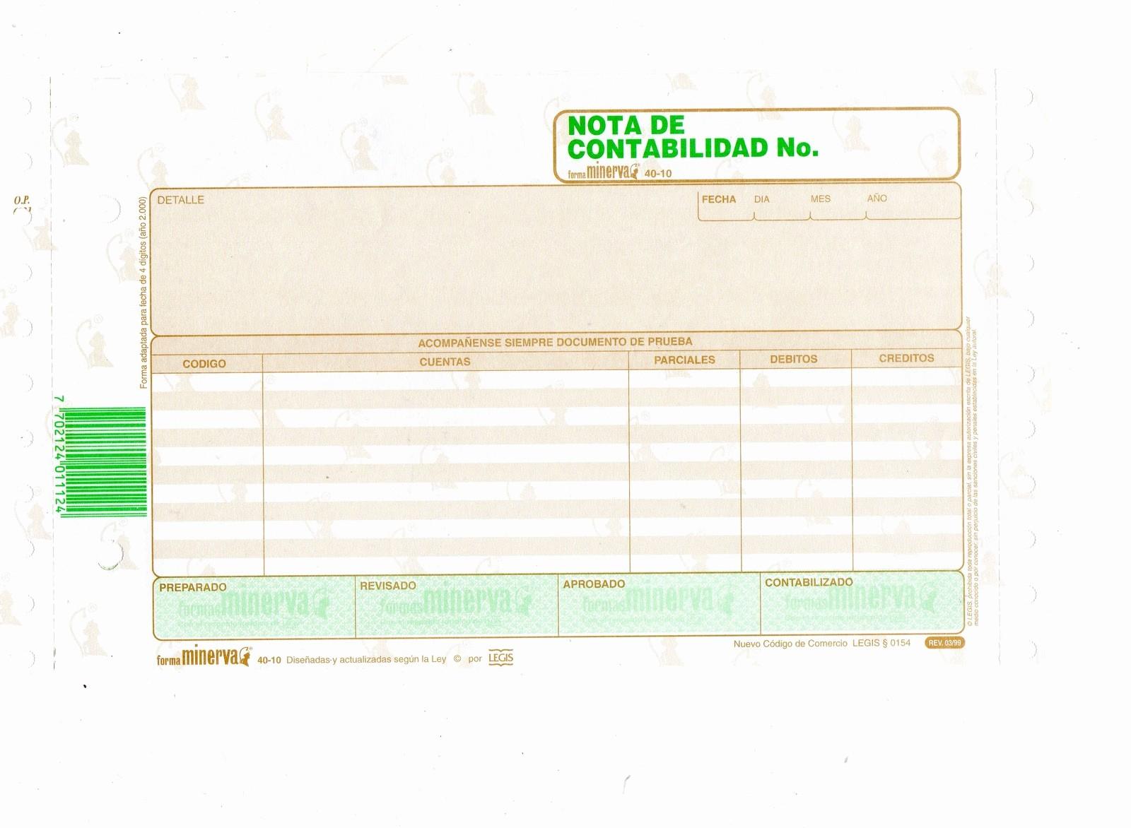 Formatos De Excel Para Contabilidad Unique Nota De Contabilidad