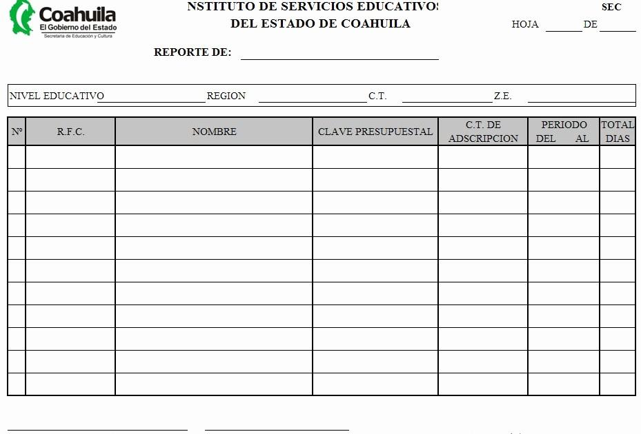 Formatos De Excel Para Reportes Awesome formatos En Excel Reporte De Permisos Y Licencias Medicas Sep