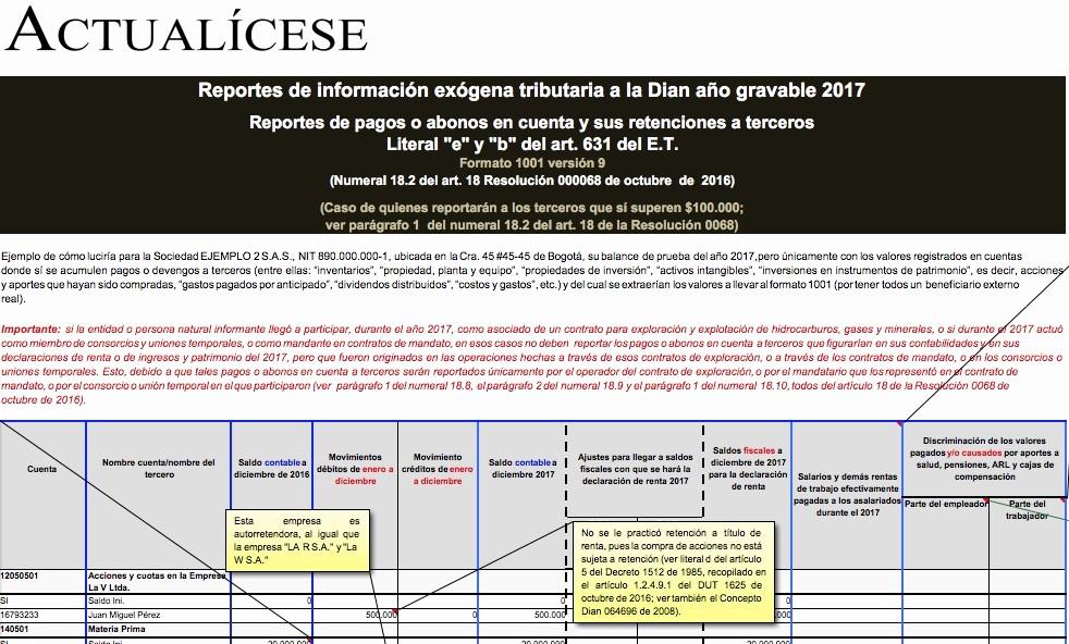 Formatos De Excel Para Reportes Fresh formato Exógena 1001 Por El Año Gravable 2017