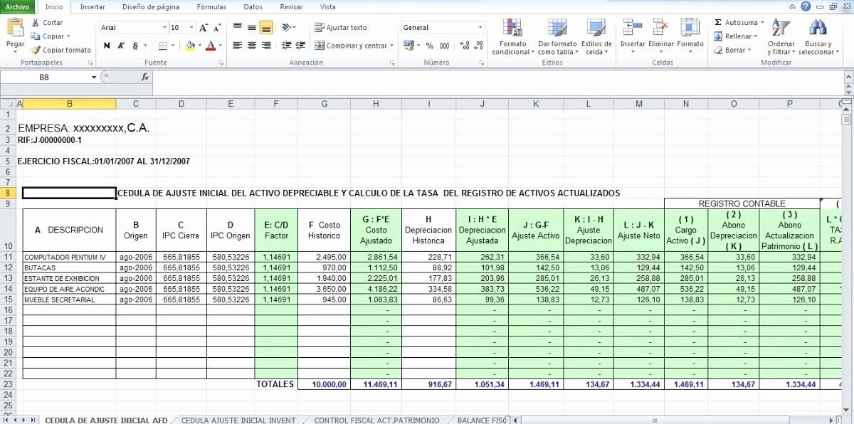 Formatos De Excel Para Reportes Inspirational formatos En Excel De Ajustes Por Inflacion Fiscal Bs 11