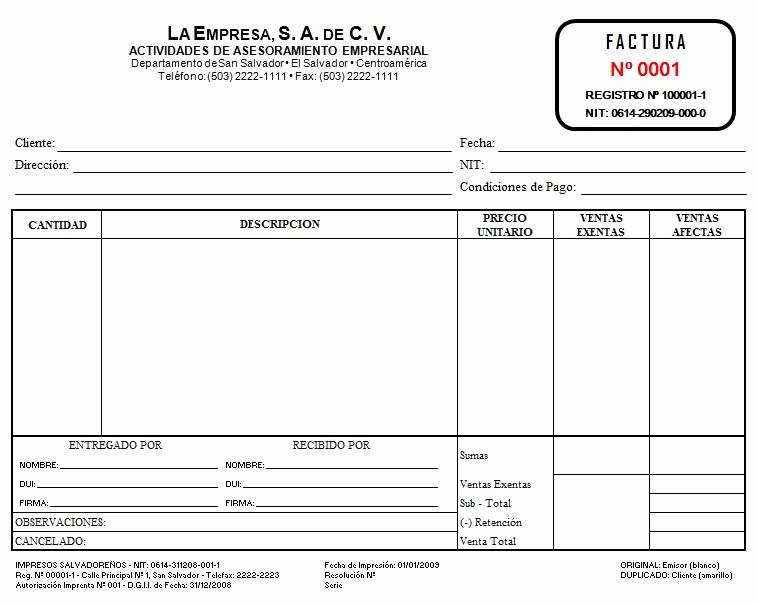 Formatos De Facturas Para Llenar Elegant Eregulations Trámites El Salvador