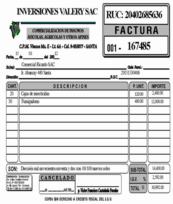 Formatos De Facturas Para Llenar Luxury Casos Practicos De Probantes De Pago