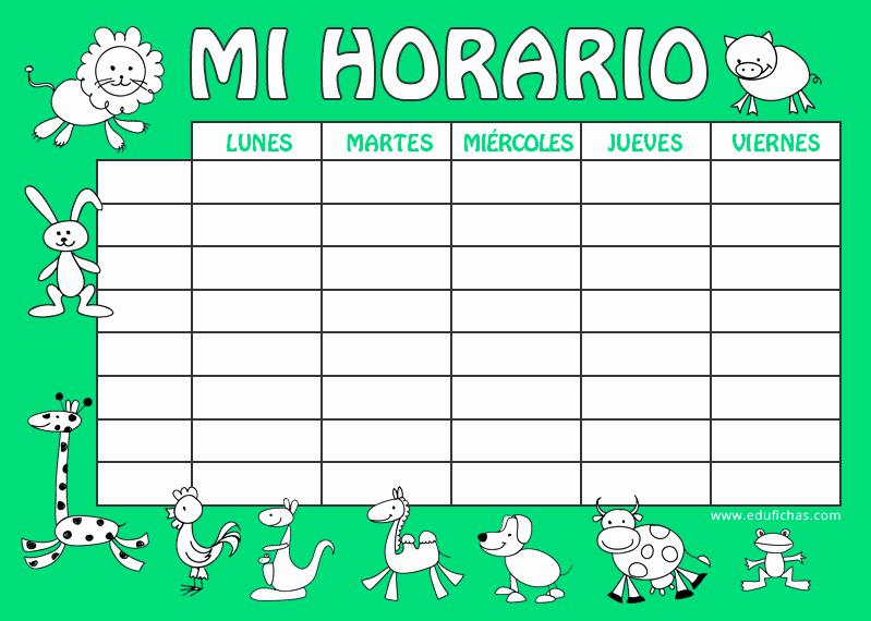 Formatos De Horarios Para Imprimir Best Of Horario Escolar Para Imprimir Horario En Blanco Para