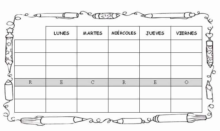 Formatos De Horarios Para Imprimir Inspirational Ensinanzaere Horario Escolar