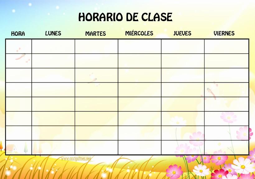 Formatos De Horarios Para Imprimir Lovely 10 Modelos De Horarios Escolar Para Niños