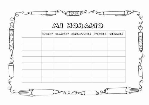 Formatos De Horarios Para Imprimir Lovely Cuaderno De Trabajo Memonotas Plantillas Semanales