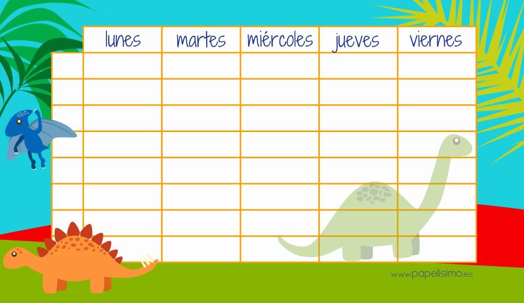 Formatos De Horarios Para Imprimir New Etiquetas Y Horario De Dinosaurios Gratis Papelisimo