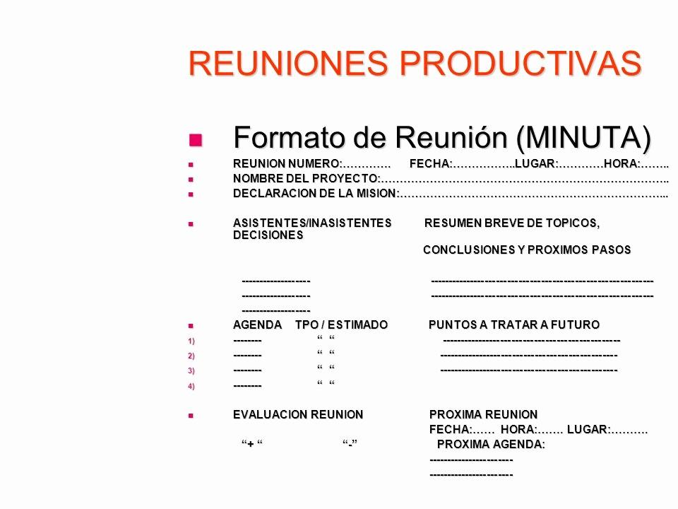 Formatos De Minutas De Reunion Lovely Reuniones Productivas Ppt Descargar