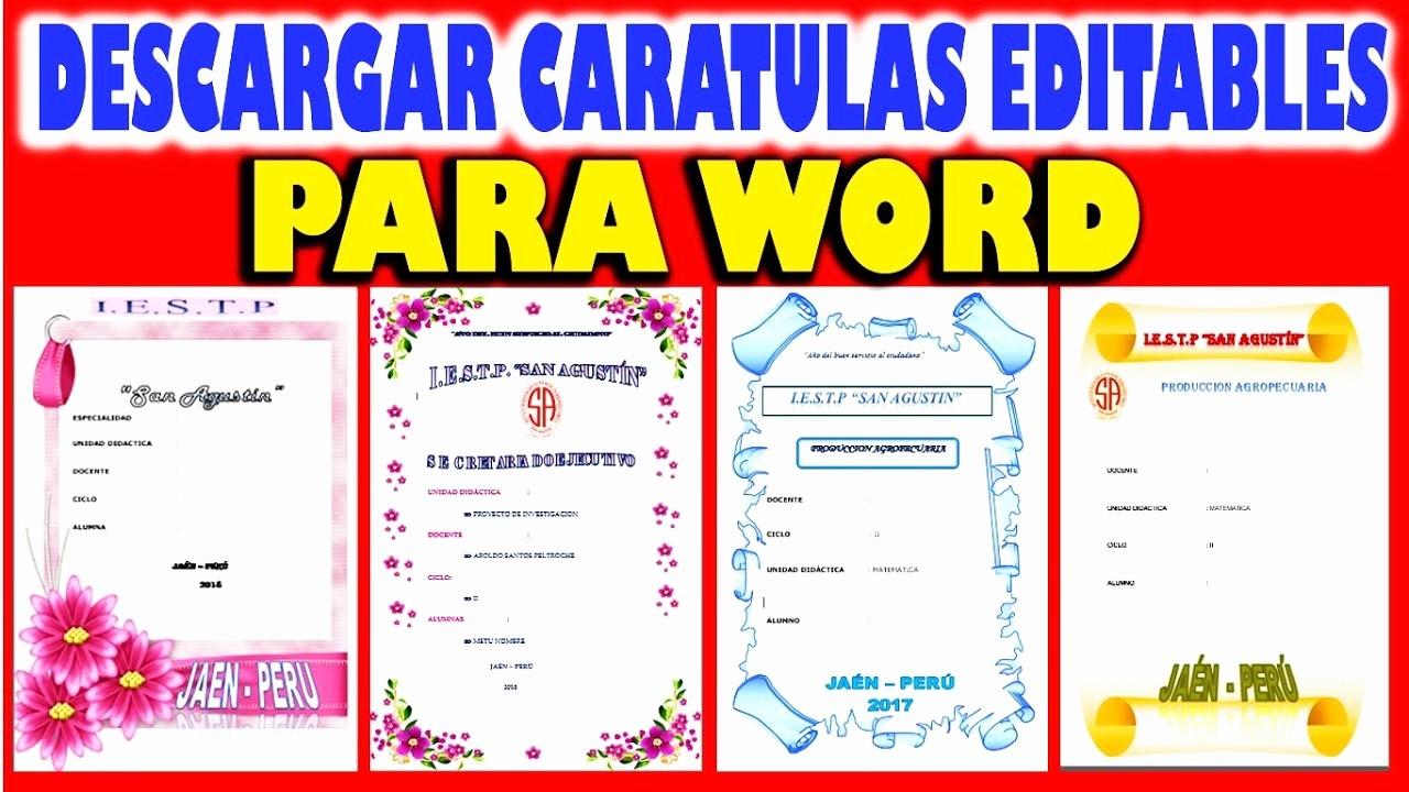 Formatos De Portadas Para Word Fresh Descargar Caratulas Editables Para Word
