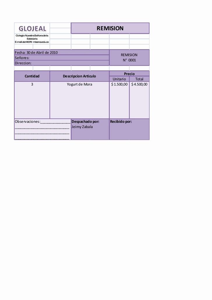 Formatos De Remision En Excel Awesome formatos Realizados En Excel