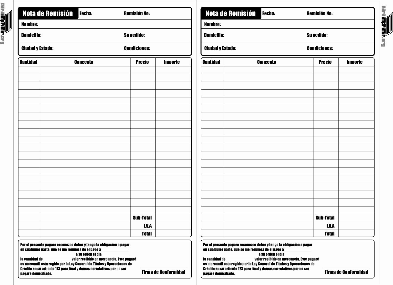Formatos De Remision En Excel Beautiful Nota De Remisión Para Imprimir