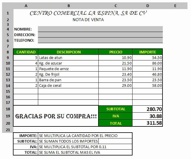 Formatos De Remision En Excel Best Of Practicando Excel Nota De Venta