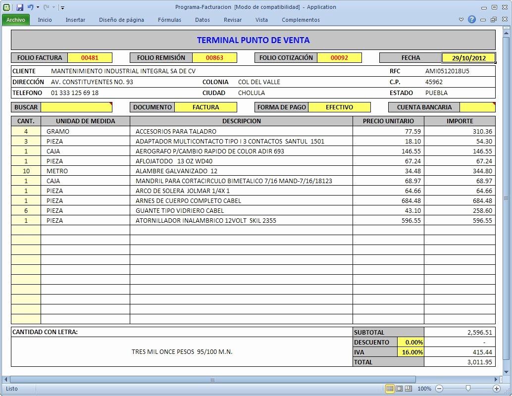 Formatos De Remision En Excel Elegant Programa Facturación Cbb Pras Ventas Inventarios Excel