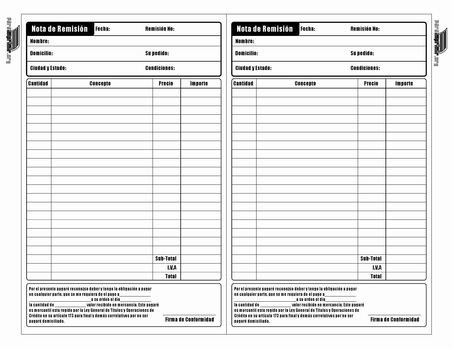 Formatos De Remision En Excel Luxury Nota De Remision Para Imprimir 1 by Carolina Hernandez