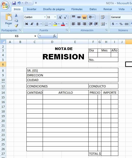 Formatos De Remision En Excel New formato De Remision En Excel