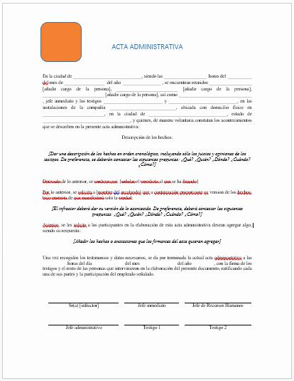 Formatos Para Actas De Reuniones Beautiful Acta Administrativa Ejemplos Y formatos