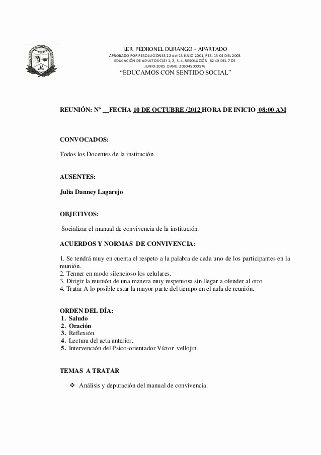 Formatos Para Actas De Reuniones Elegant Acta Institucional Jornada Pedagogica 2012