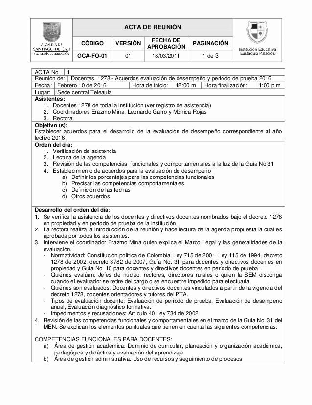 Formatos Para Actas De Reuniones Fresh Acta De ReuniÓn Acuerdos EvaluaciÓn 1278 Lectivo 2016