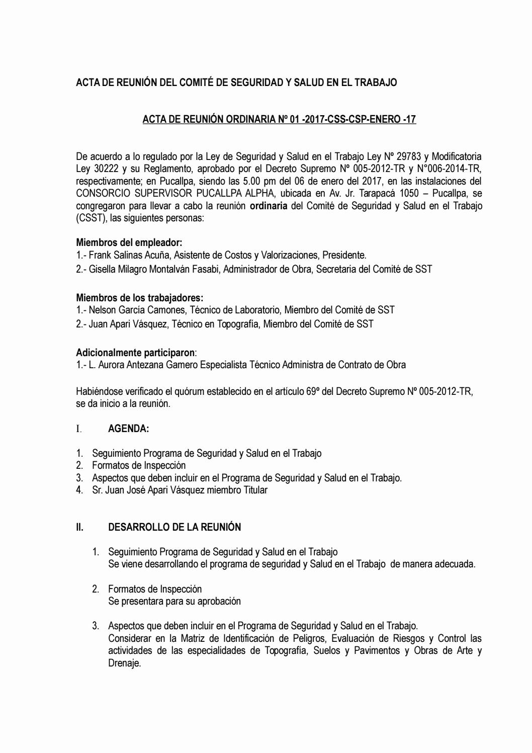 Formatos Para Actas De Reuniones Fresh Acta De Reunión ordinaria N°01 2017 Csst Csp Enero 2017 by