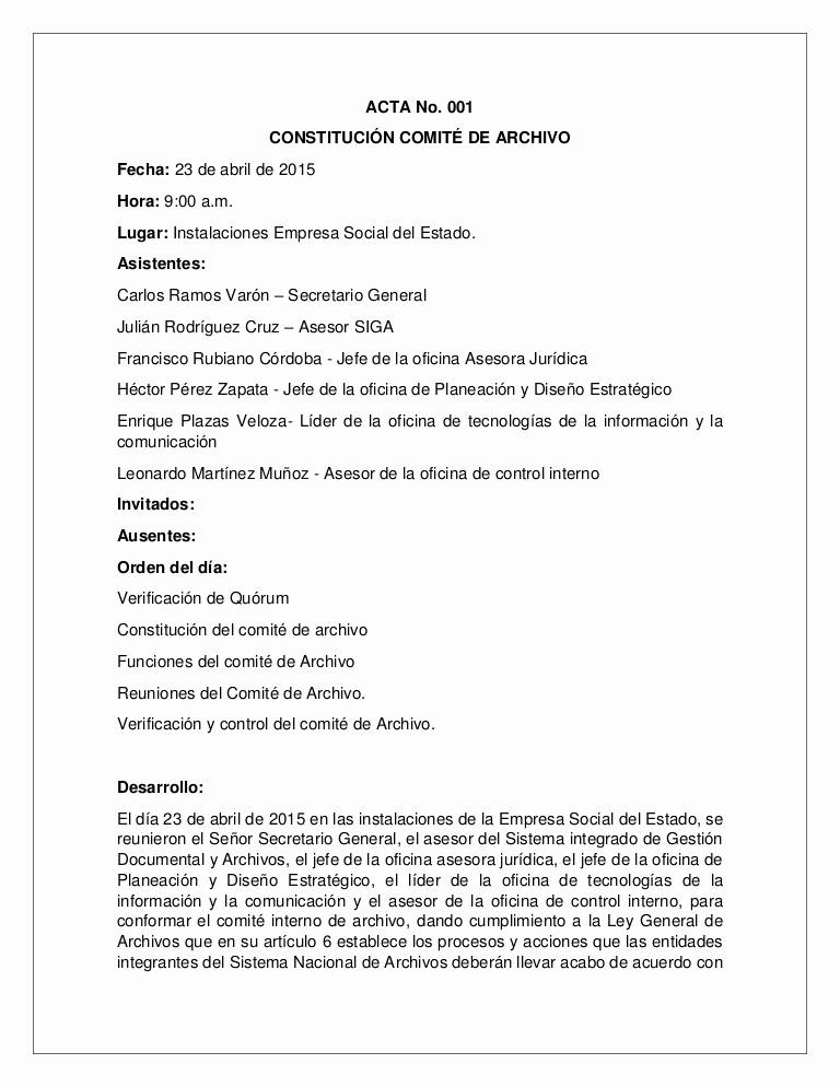 Formatos Para Actas De Reuniones Unique Acta Ite De Archivo