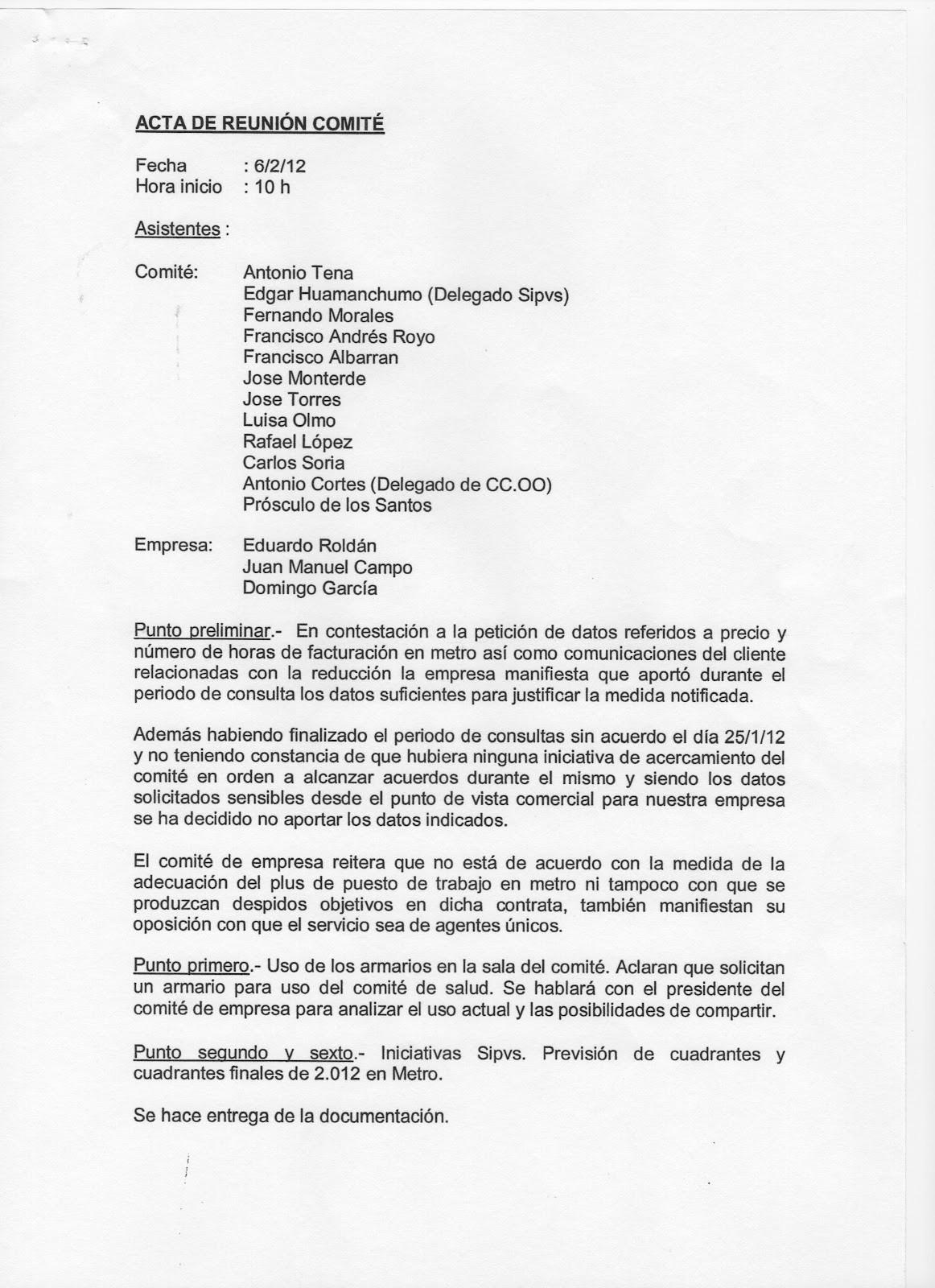 Formatos Para Actas De Reuniones Unique Usoc Eulen Sección Sindical 2012 Actas Reuniones Ite