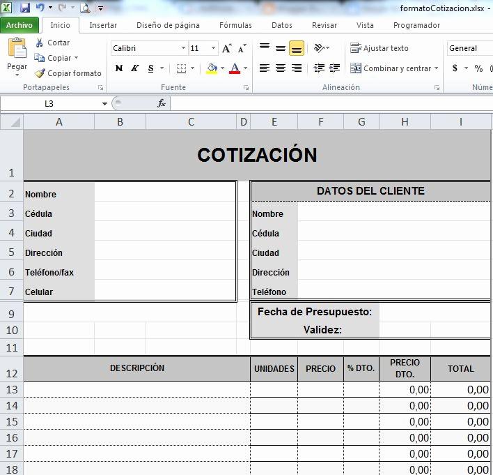 Formatos Para Cotizaciones En Excel Elegant formatos De Cotizaciones En Word Gratis