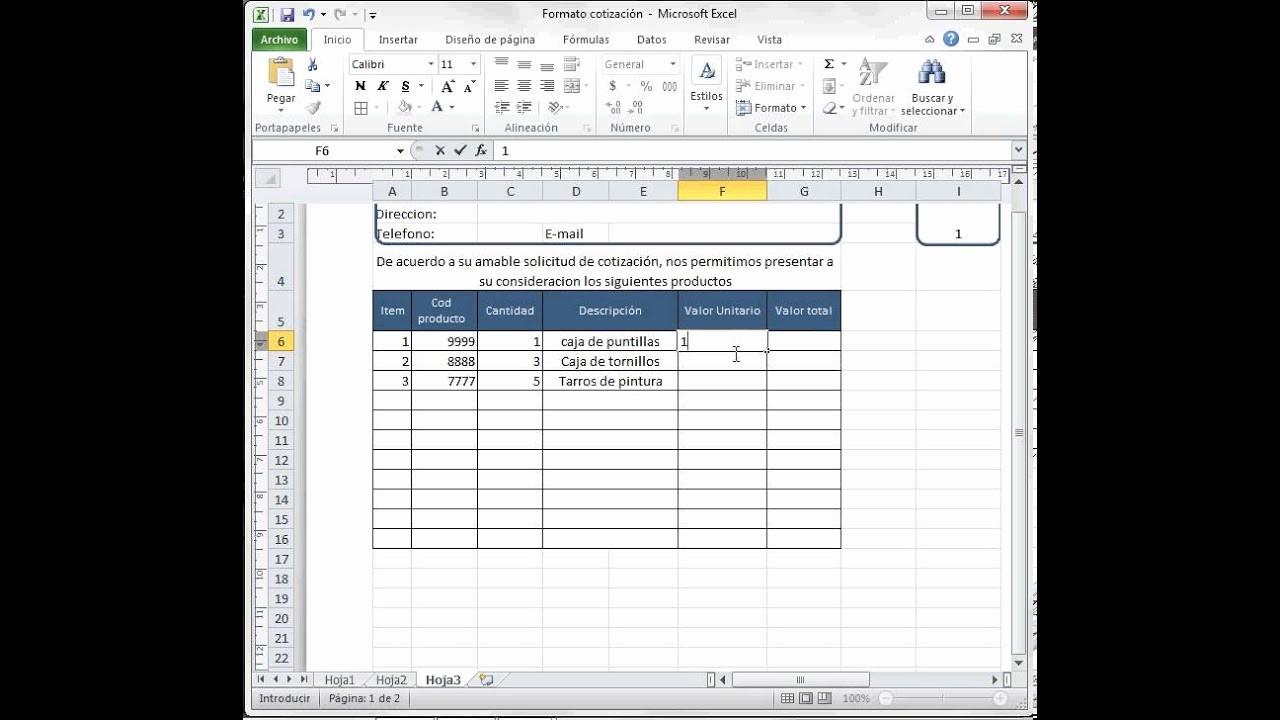 Formatos Para Cotizaciones En Excel Fresh formato Cotización O Factura Excel 2010