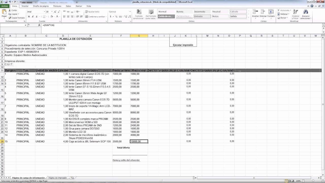 Formatos Para Cotizaciones En Excel Lovely Siu Diaguita Planilla De Cotización Para Erentes