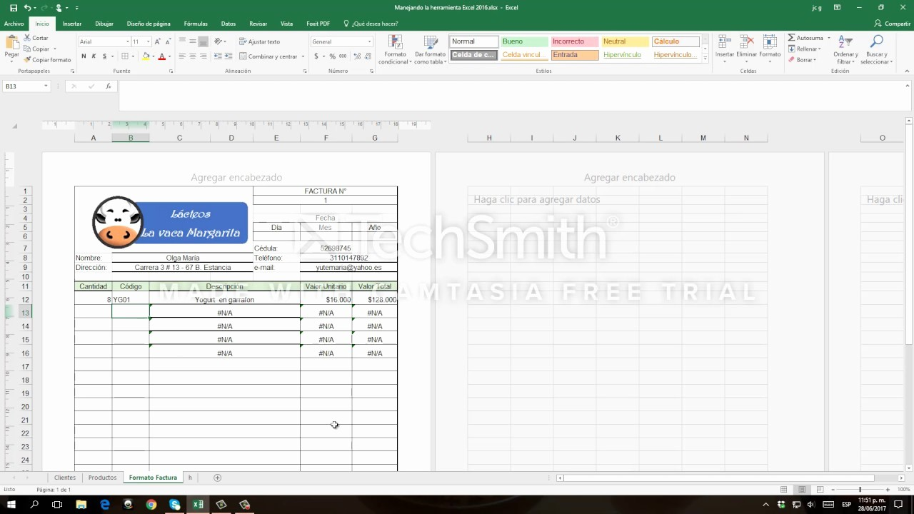 Formatos Para Cotizaciones En Excel Luxury Crear Un formato De Factura Con Excel 2016
