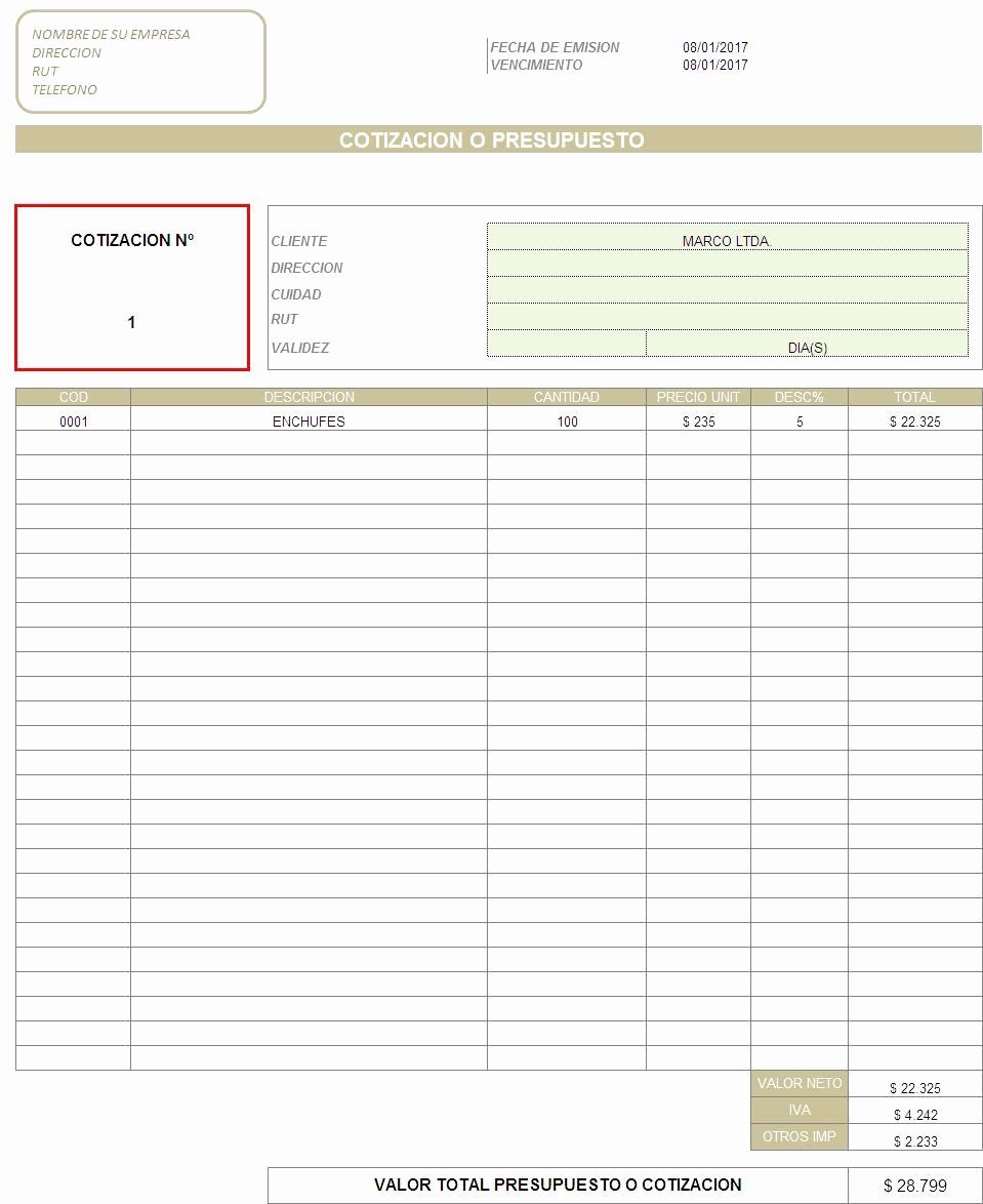 Formatos Para Cotizaciones En Excel New Web Del Brito formato De Cotizacion En Excel Para