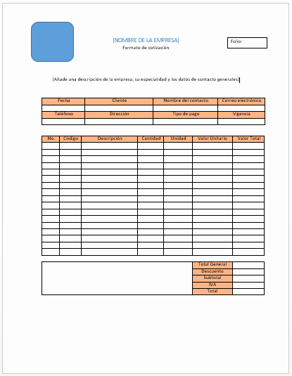 Formatos Para Cotizaciones En Word Fresh formato Para Cotizacion Word Idealstalist