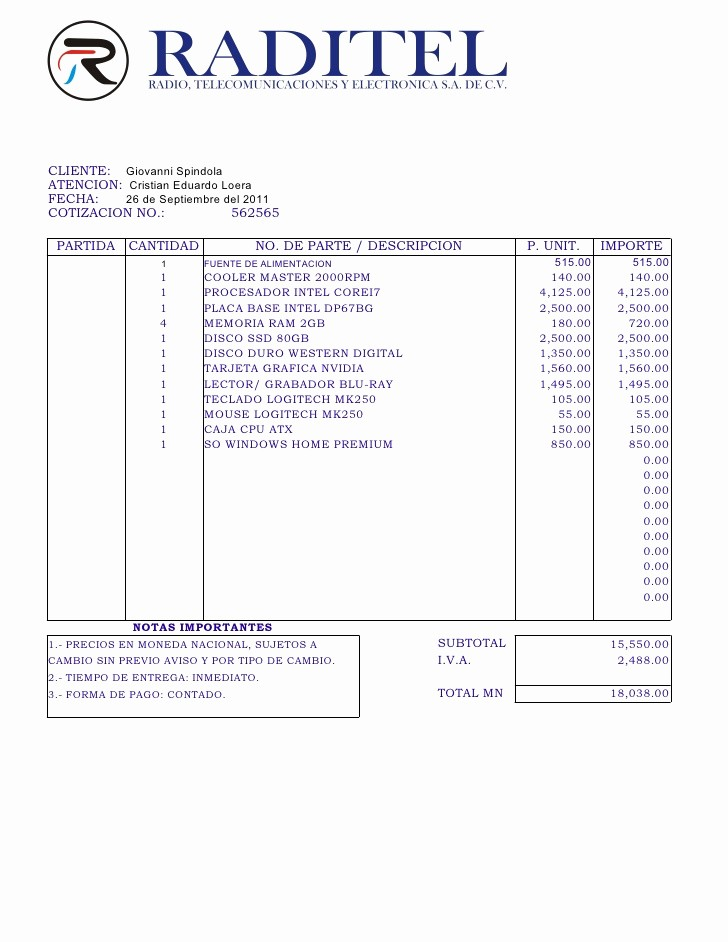 Formatos Para Cotizaciones O Presupuestos Inspirational Cotizacion Putadora Puebla