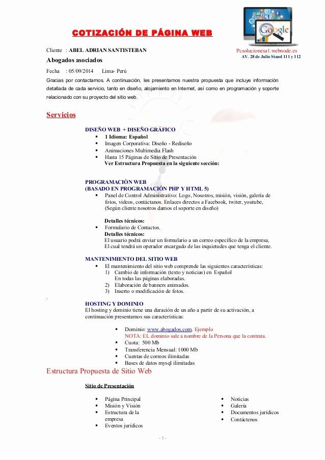 Formatos Para Cotizaciones O Presupuestos Lovely Cotizacion Pagina Web Abogados