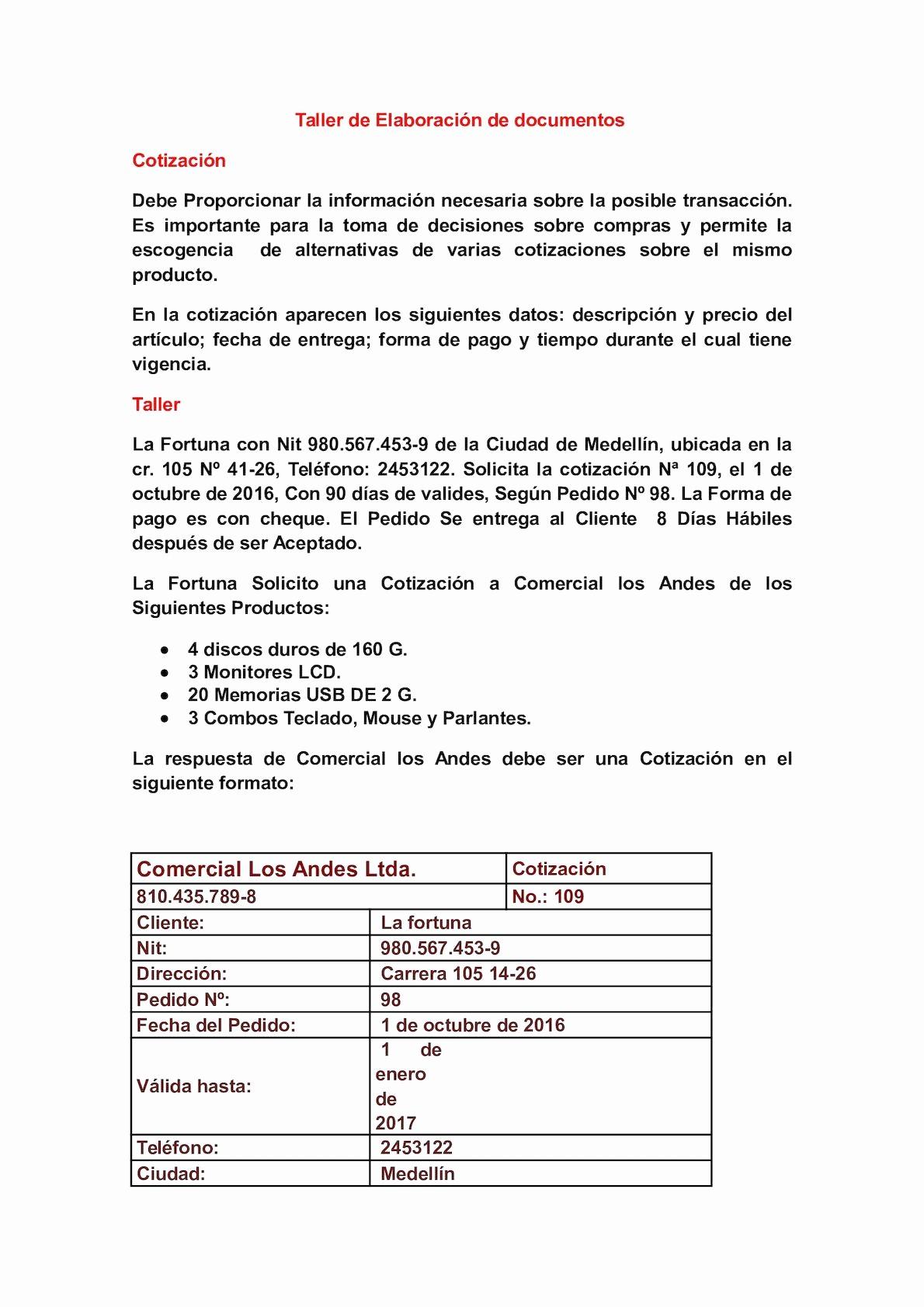 Formatos Para Cotizaciones O Presupuestos New Calaméo Taller De Elaboración De Documentos Contables