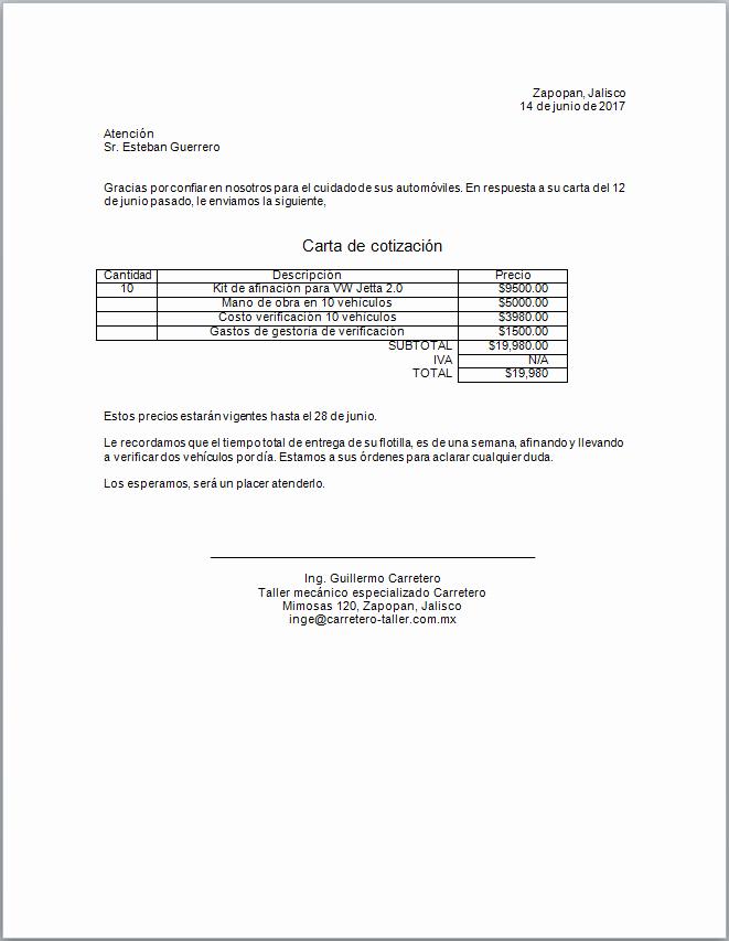 Formatos Para Cotizaciones O Presupuestos New Ejemplo Carta De Cotización