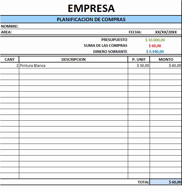 Formatos Para Presupuestos En Excel Awesome Planilla De Excel De Planeamiento De Pras