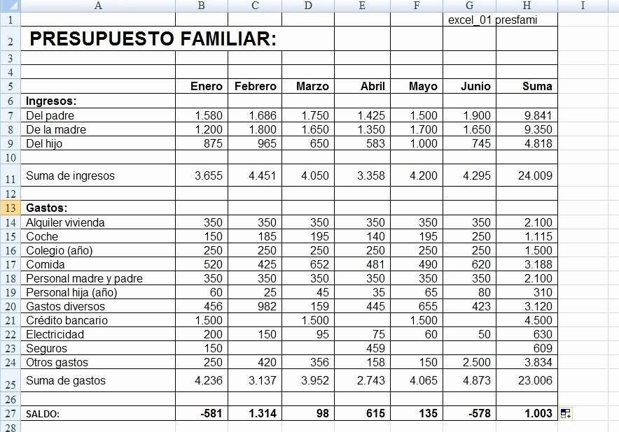 """Formatos Para Presupuestos En Excel Elegant Ies Honori Garcia """"franch"""" Ejercicio De Excel"""