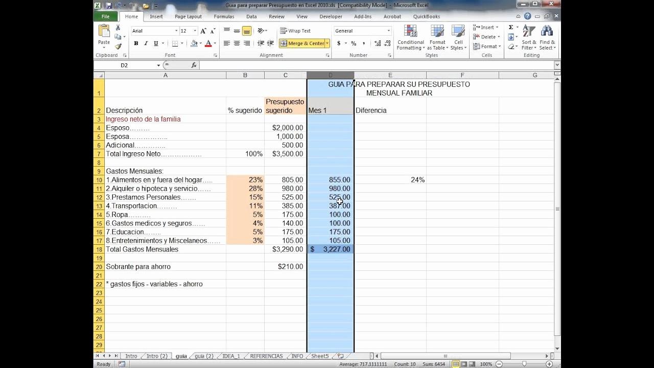 Formatos Para Presupuestos En Excel Lovely Guia Para Preparar Presupuesto En Excel 2010