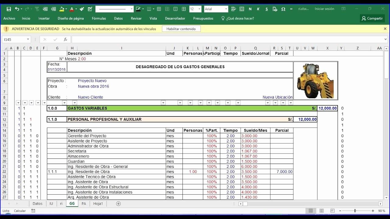 Formatos Para Presupuestos En Excel New Costos Indirectos