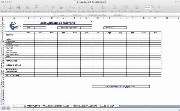 Formatos Para Presupuestos En Excel New Presupuesto De Tesorera Descargar